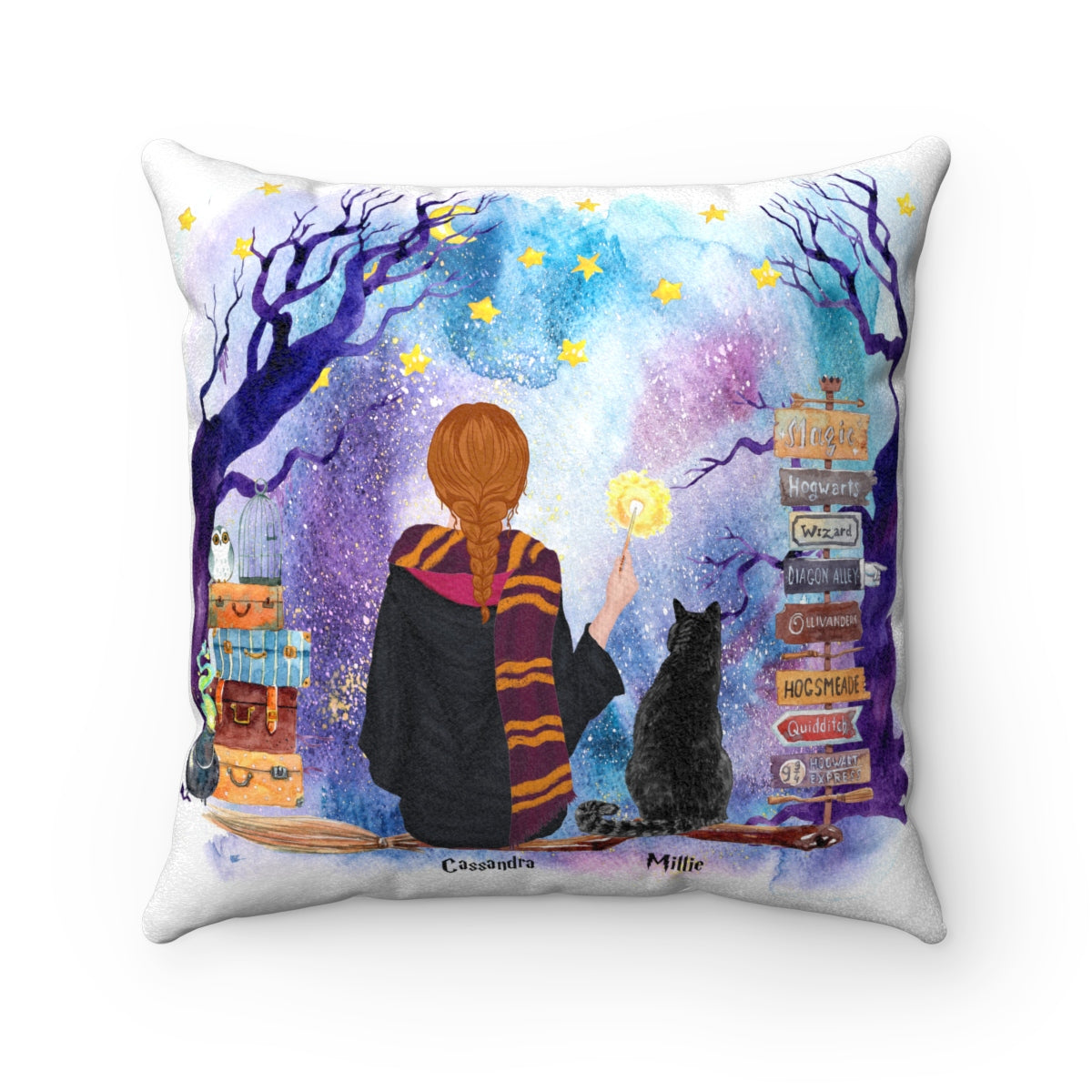 Cat and Witch Cushion Personalised