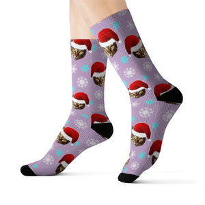 Santa Hat Cat Socks