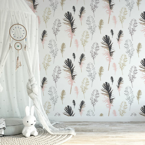Amba Florette - Feathered Friends wallpaper in pink