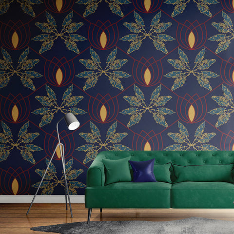 Lydia in deep blue - Nature's Glamour Eco  Wallpaper Australia collection