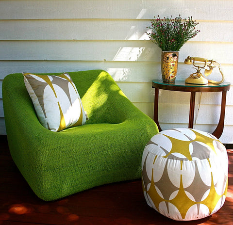 Amba Florette - Grant Featherstone circa 1970 modular chair and Art Deco side table along with Amba Florette 'Raise The Bar' cushion and pouf
