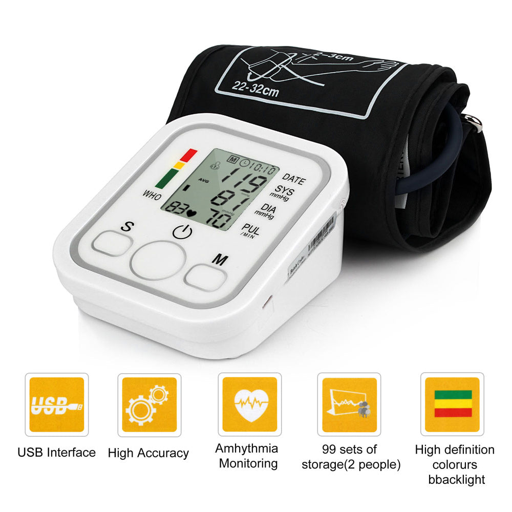 Automatic Upper Arm Digital Blood Pressure Monitor LCD Display Tonometer Meter Sphygmomanometer With Cuff for 22-32cm 0