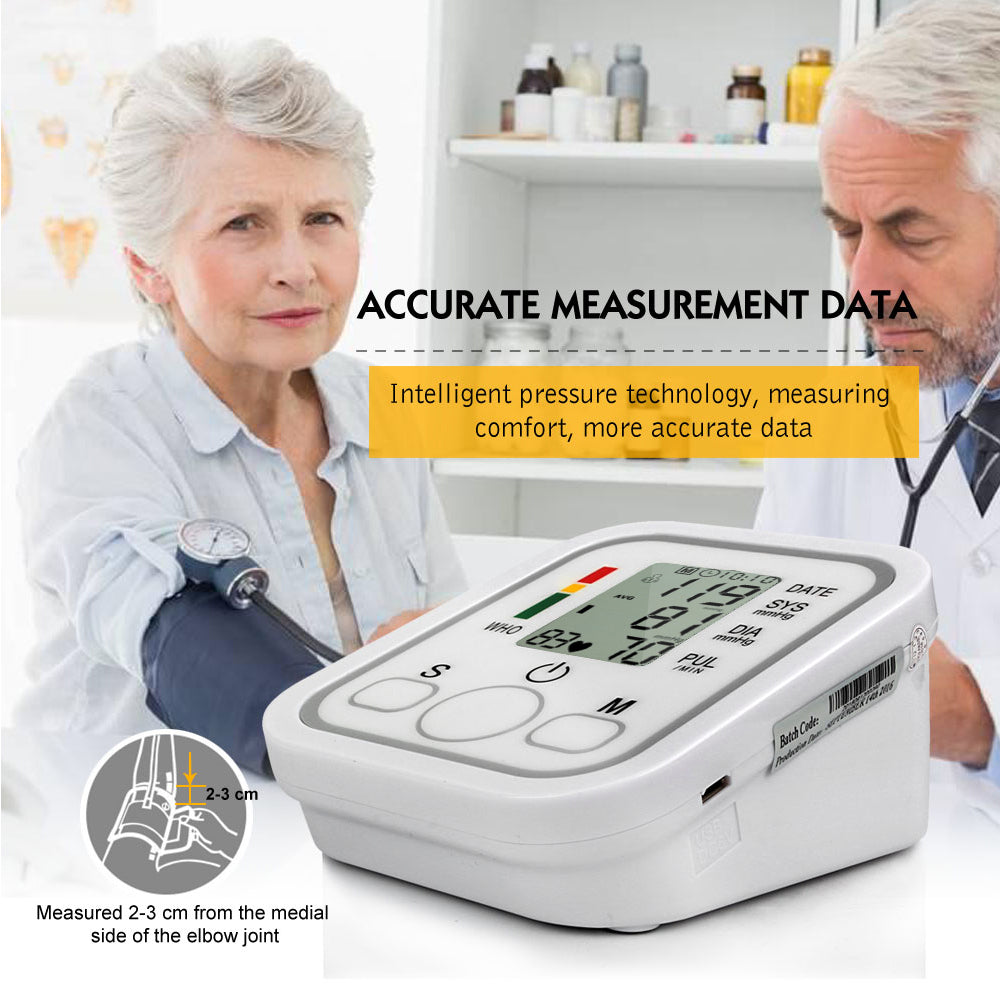 Automatic Upper Arm Digital Blood Pressure Monitor LCD Display Tonometer Meter Sphygmomanometer With Cuff for 22-32cm 2