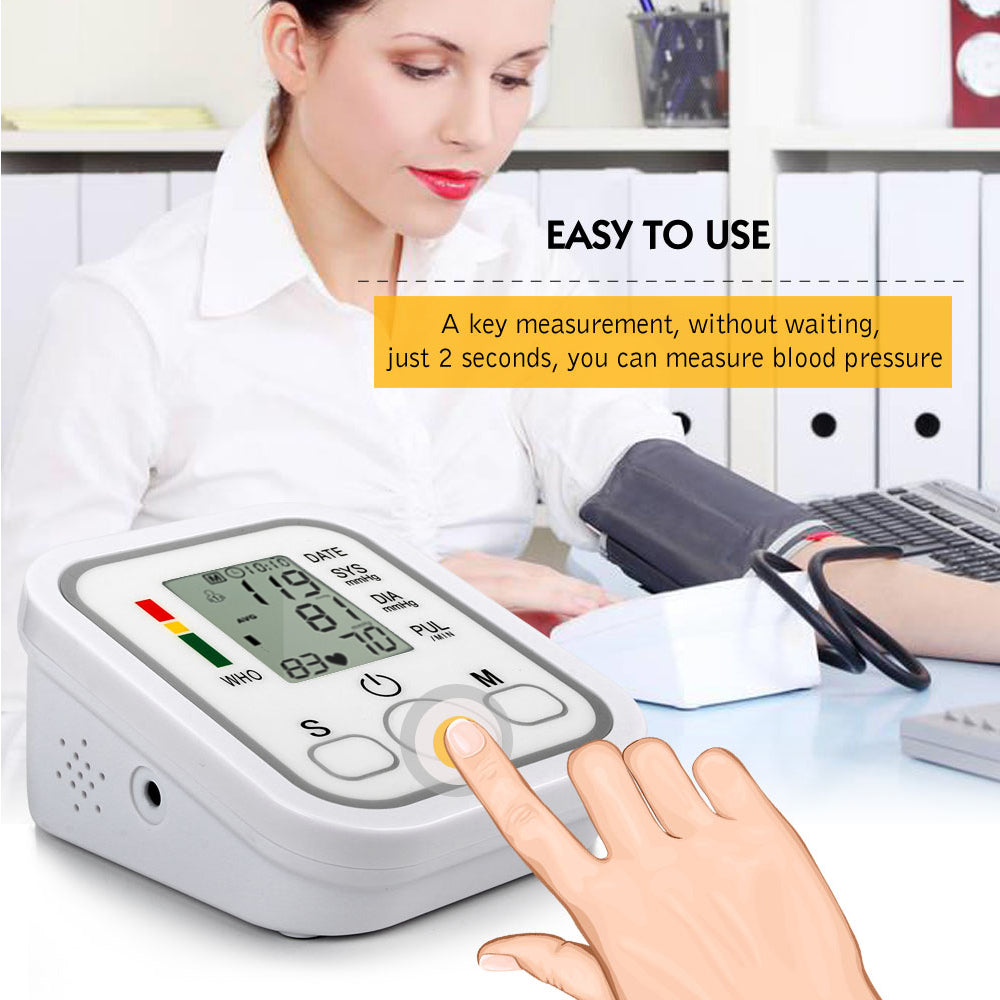 Automatic Upper Arm Digital Blood Pressure Monitor LCD Display Tonometer Meter Sphygmomanometer With Cuff for 22-32cm 4