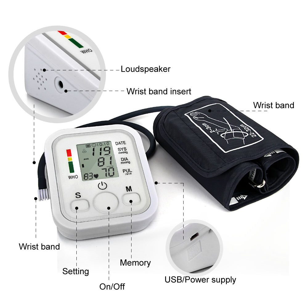 Automatic Upper Arm Digital Blood Pressure Monitor LCD Display Tonometer Meter Sphygmomanometer With Cuff for 22-32cm 5