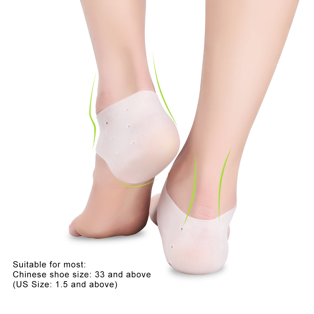 1pair Silicone Comfortable Practical Gel Heel Protectors with Holes For Foot Care Pain Relieve From Plantar Fasciitis Heel Spur 1