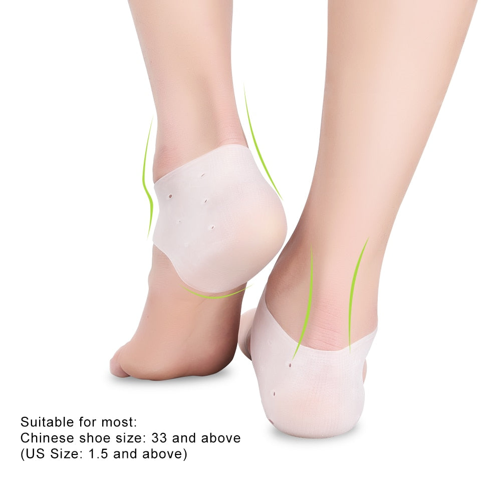 Bzeey Main Image 2-1pair Silicone Comfortable Practical Gel Heel Protectors with Holes For Foot Care Pain Relieve From Plantar Fasciitis Heel Spur
