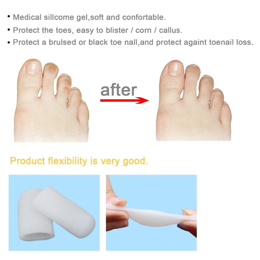 Bzeey Main Image 6-5 Pairs Silicone Toe Sleeve Feet Pain Relief Toe Cap Cover Protector for Corn Blisters Hallux Valgus Straightener Toe Separators