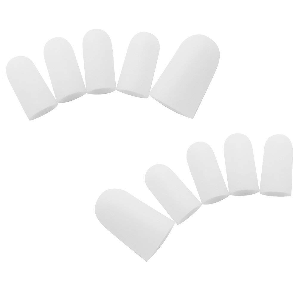 Bzeey Main Image 3-5 Pairs Silicone Toe Sleeve Feet Pain Relief Toe Cap Cover Protector for Corn Blisters Hallux Valgus Straightener Toe Separators