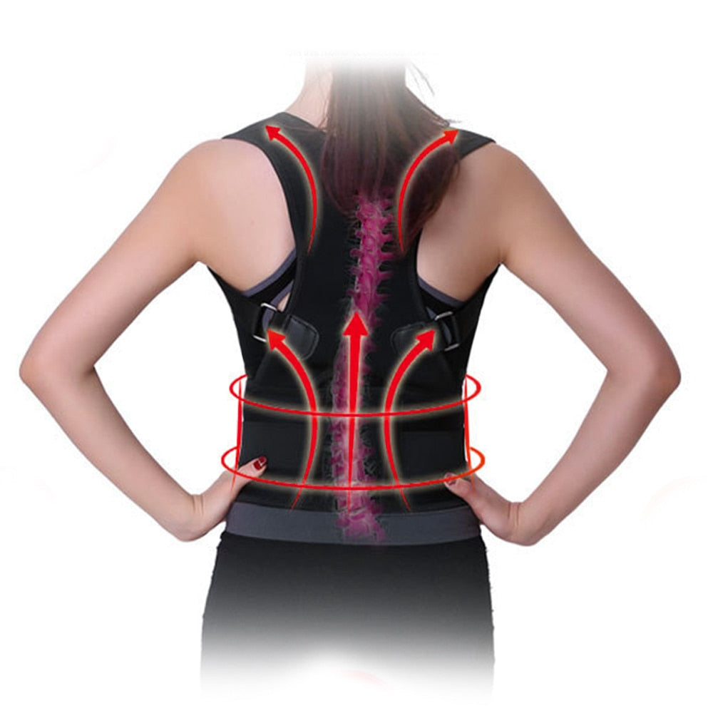 Bzeey Main Image 1-Adjustable Humpback Spine Magnetic Posture Corrector Back Shoulder lumbar Support Posture Correction Therapy Belt S-XXL Unisex