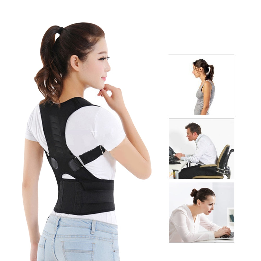 Bzeey Main Image 6-Adjustable Humpback Spine Magnetic Posture Corrector Back Shoulder lumbar Support Posture Correction Therapy Belt S-XXL Unisex