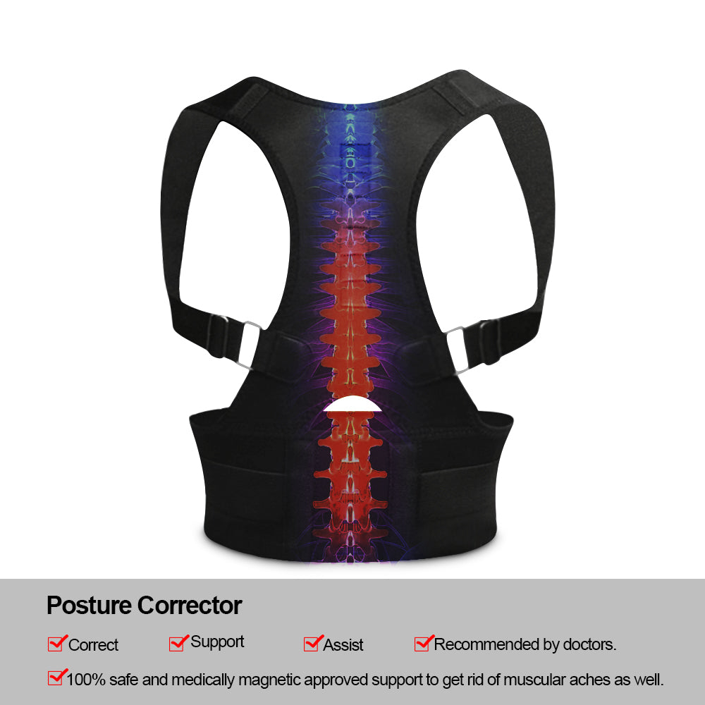 Bzeey Main Image 2-Adjustable Humpback Spine Magnetic Posture Corrector Back Shoulder lumbar Support Posture Correction Therapy Belt S-XXL Unisex