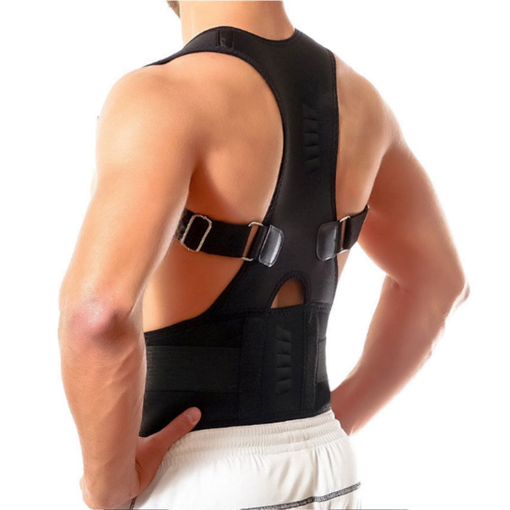 Bzeey Main Image 3-Adjustable Humpback Spine Magnetic Posture Corrector Back Shoulder lumbar Support Posture Correction Therapy Belt S-XXL Unisex