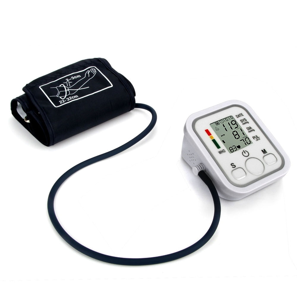 Bzeey Main Image 4-Automatic Upper Arm Digital Blood Pressure Monitor LCD Display Tonometer Meter Sphygmomanometer With Cuff for 22-32cm