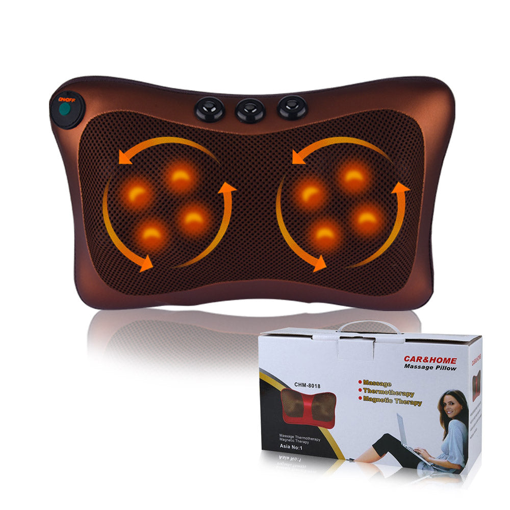 Bzeey Main Image 1-Electric Shiatsu Kneading Neck Massager Shoulder Back Body Massage Pillow Home Car Dual-Use Body Relaxation Pain Relief Massager