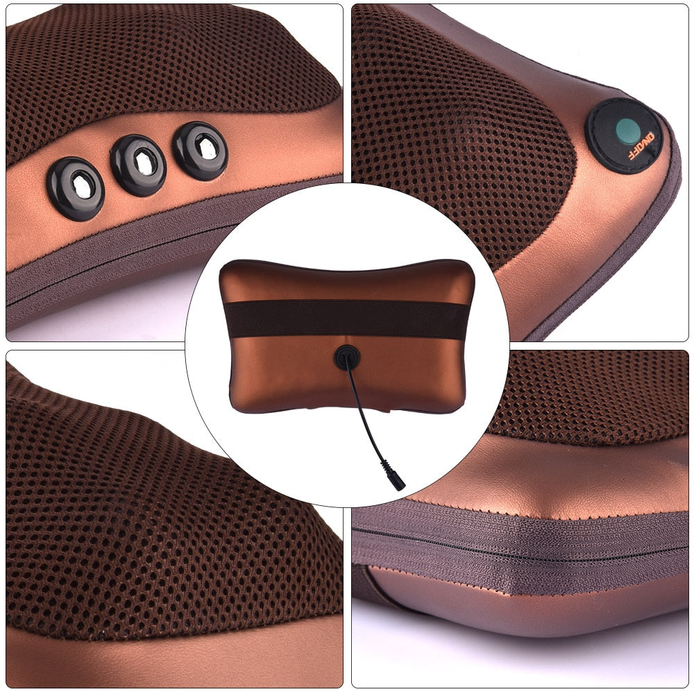 Bzeey Main Image 2-Electric Shiatsu Kneading Neck Massager Shoulder Back Body Massage Pillow Home Car Dual-Use Body Relaxation Pain Relief Massager