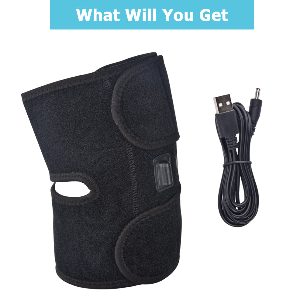 Bzeey Main Image 5-Infrared Heated Knee Brace Wrap Support Massager Injury Cramps Arthritis Recovery Hot Therapy Pain Relief Knee Rehabilitation