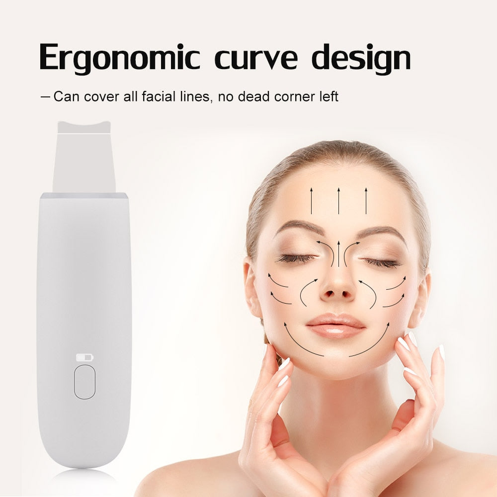 Bzeey Main Image 3-Rechargeable Ultrasonic Face Skin Scrubber Massager Face Cleaning Anion Face Skin Care Peeling Lifting Acne Removal Scrubber