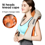 Bzeey Main Image 1-Shiatsu Cervical Back Neck Shoulder Body Massager U Shape Shawl Electric Roller Kneading Car Home Massage Body Relaxation