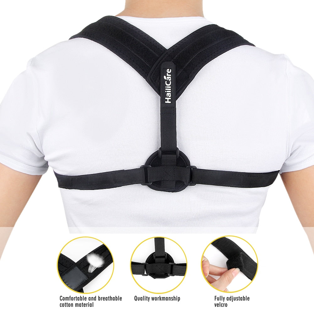 Bzeey Main Image 1-Upper Back Posture Corrector Adjustable Clavicle Support Strap Unisex Adult Back Shoulder Posture Correction Spine Support