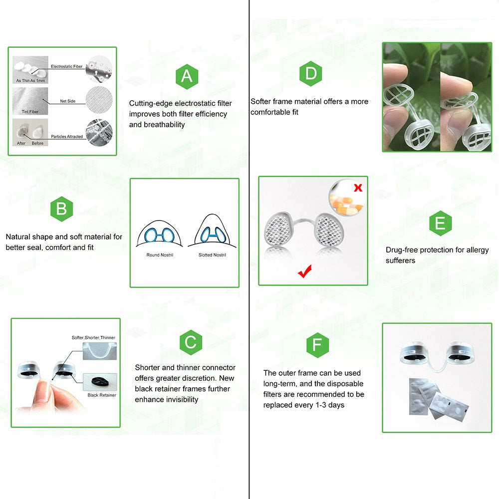 Bzeey Main Image 6-WoodyKnows Nose Filter Super Defense Nasal Filters Multipack S Reduce Air Pollution, Dust, Pollen Invisible Anti Pollution Mask