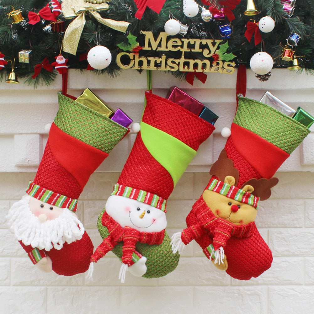 Christmas Stockings Santa Claus Sock Gift Kids Candy Bag Xmas Noel  Decoration for Home Christmas Tree 8a46f9a8c15f
