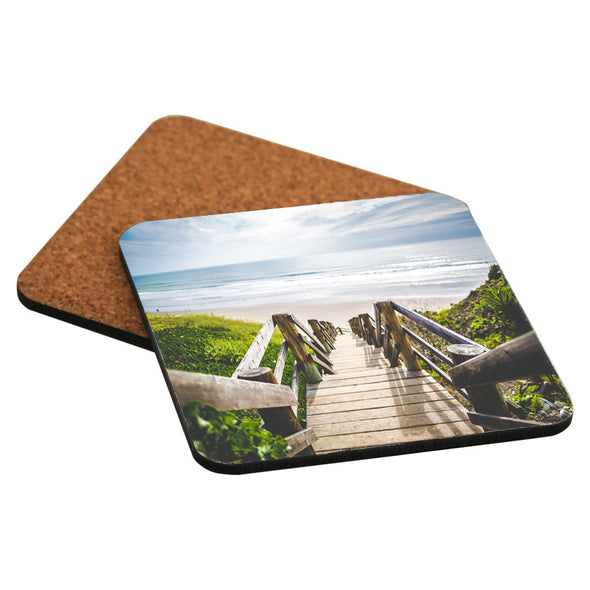 Gloss Hardboard Square Coaster with Cork Back