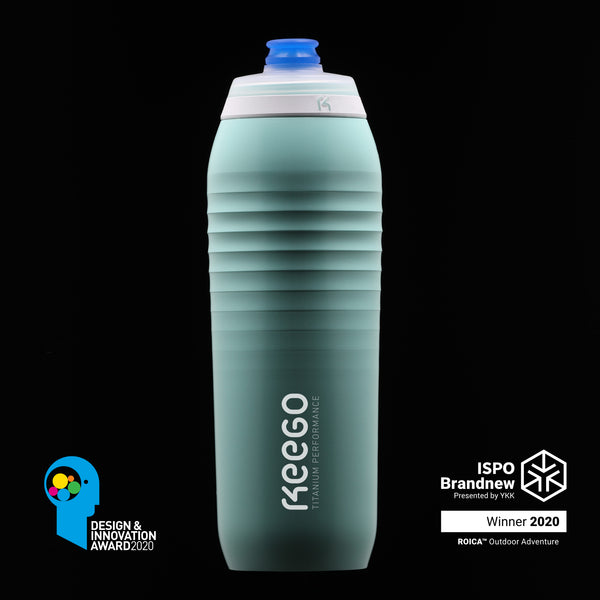Made of a layered construction with a pure titanium inner surface keeping your water pure and preventing mold. Outside a most durable plastic keeps the bottle light and elastic.  750 ml.  90 g.  Naturally without BPA, BPS, Softeners or Phthalates.