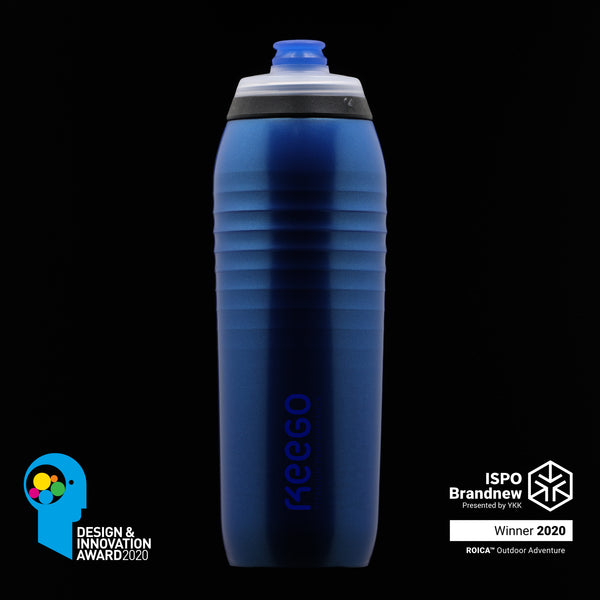Electric Blue. The body of the bottle is a multi-layered construction. The titanium inside keeps your drink pure and healthy, while an outside of high-grade polymer ensures elasticity and good grip – both in your hands and your bike's bottle cage.