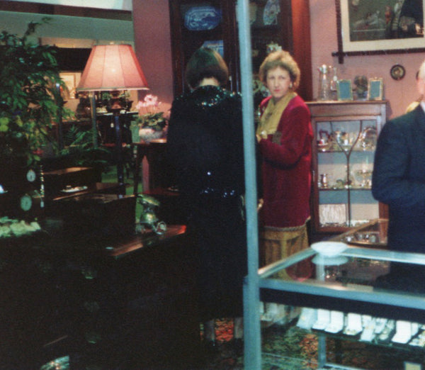 Mary Howard in the 1980s at a local antique Fair and the two of us working on the stall