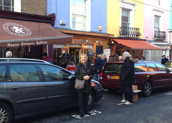 Bloomsbury Founder Mary Howard - outside Rogers Gallery our favourite arcade at Portabello Rd