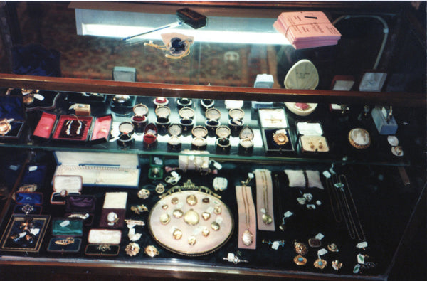 Bloomsbury Antiques - Jewellery Collection in the 1980's - inside a display case