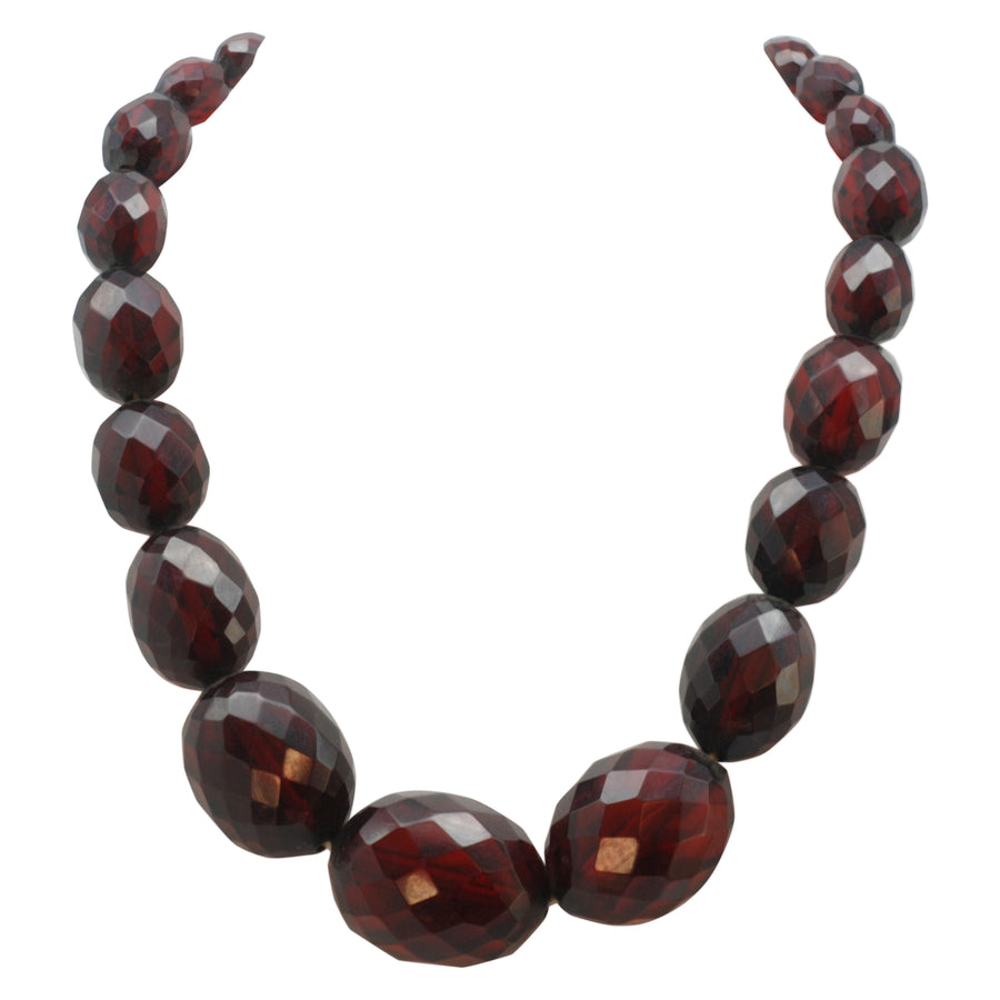 Original 1920's Graduated faceted Cherry Amber resin necklet-flapper length