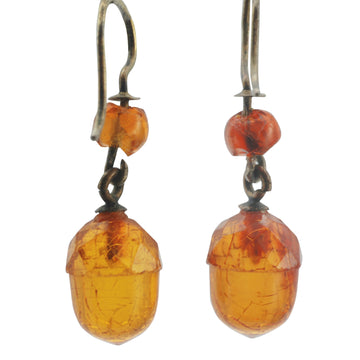 Victorian carved translucent amber acorn earrings - all original condition