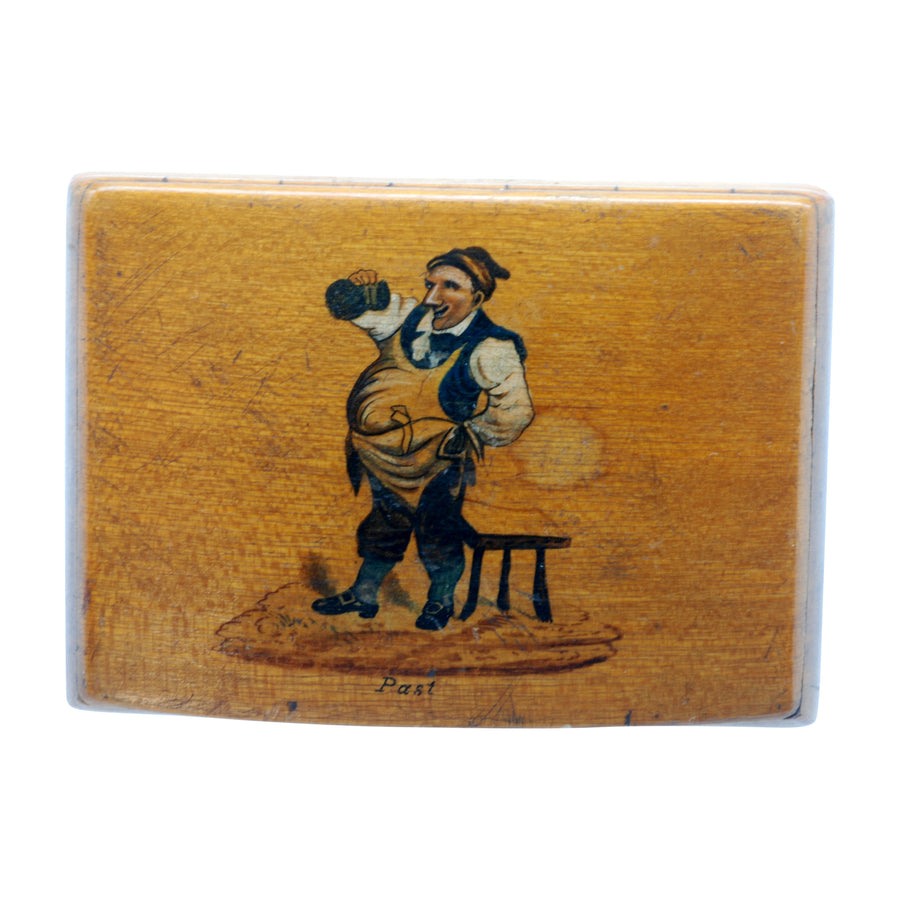 Antique Continental Fruit Wood Snuff Box with Painted Figure - Front