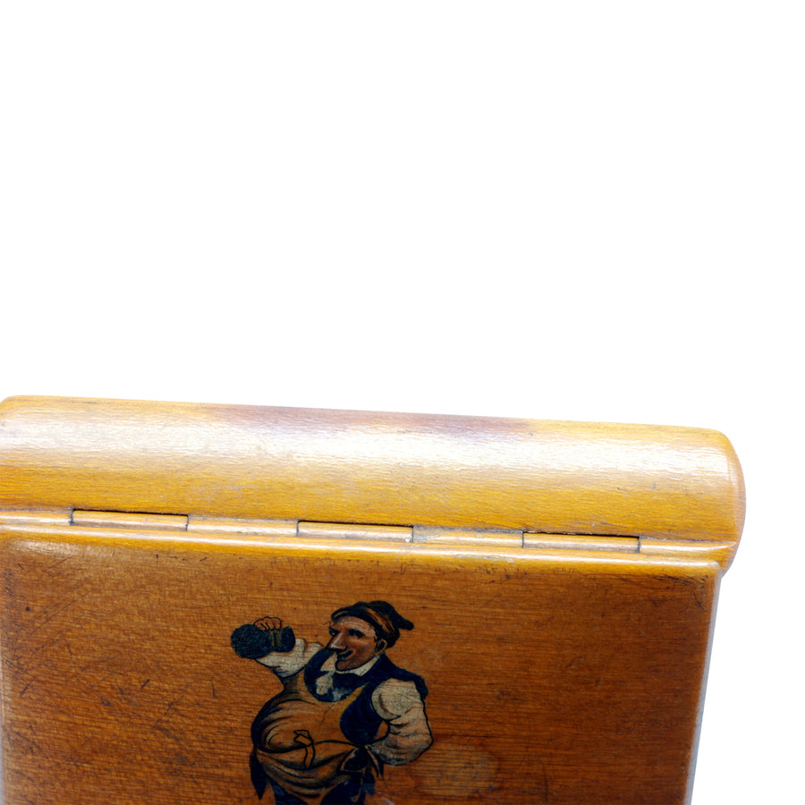 Antique Continental Fruit Wood Snuff Box with Painted Figure - Hinge