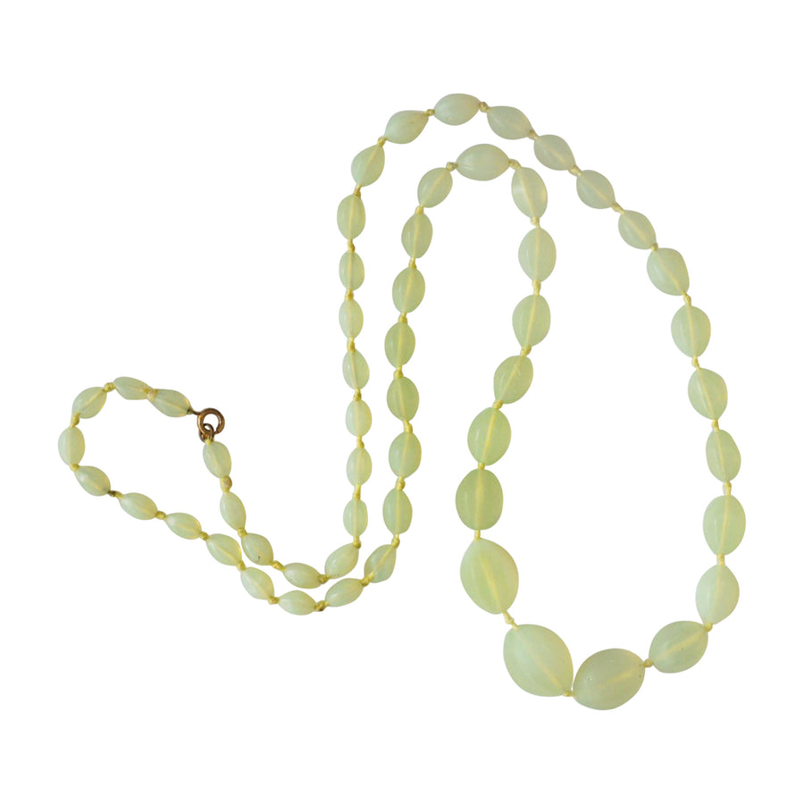 Art Deco Vaseline Glass Bead Necklace