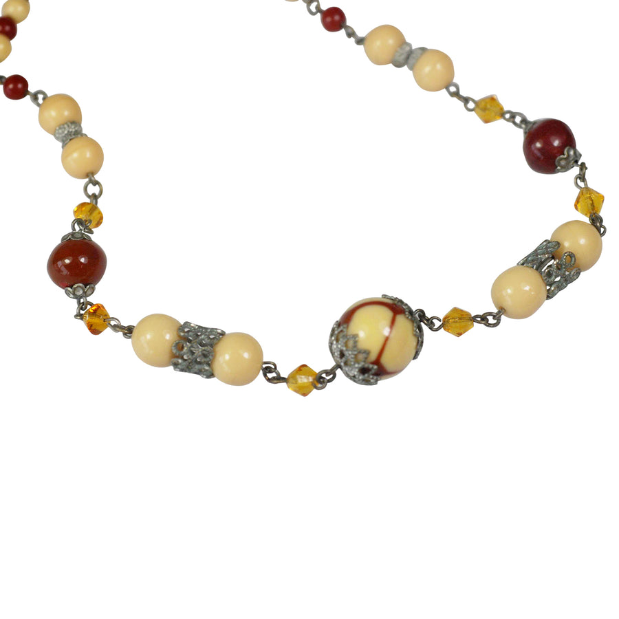 Art Deco coffee coloured Glass Necklet