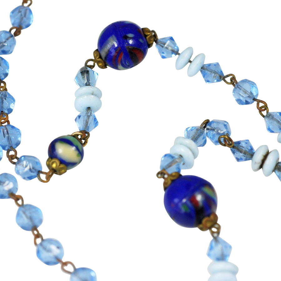 1930's Italian Handblown glass+ Crystal Blue Bead Necklet