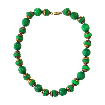 1930's Green resin deco beads