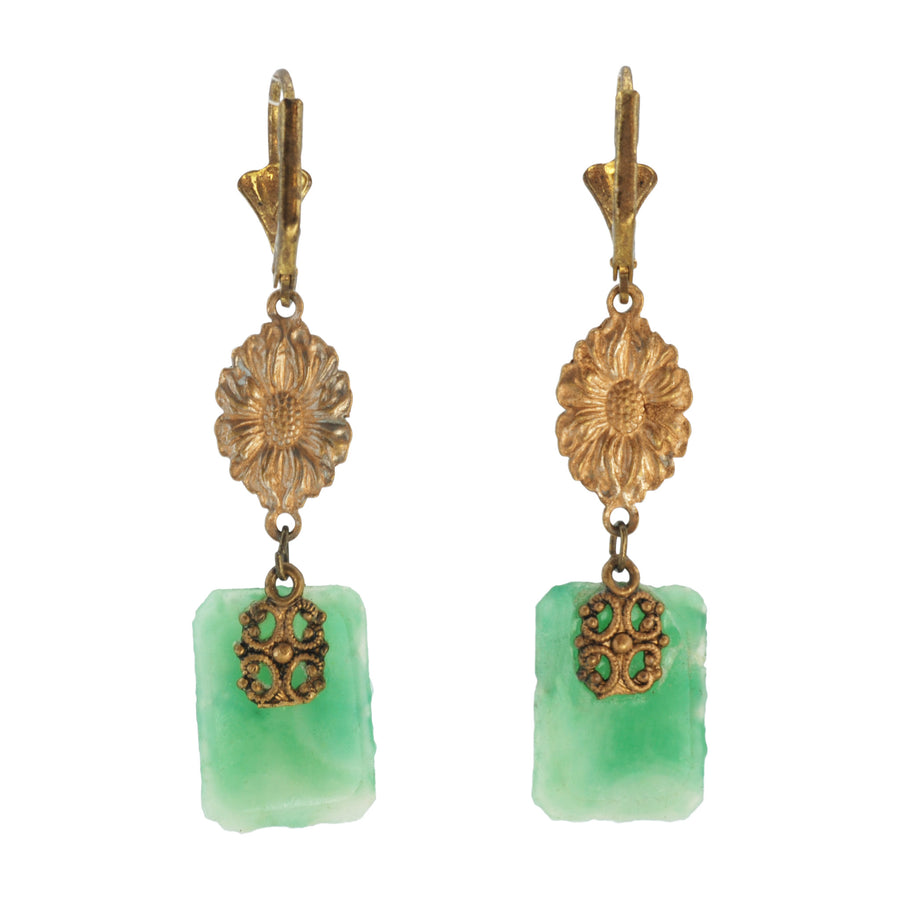 Deco green Art Glass Earrings - Front