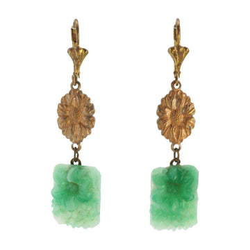 Deco green Art Glass Earrings - Back