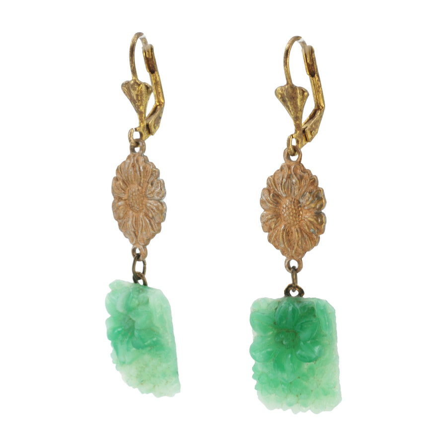 Deco green Art Glass Earrings - Side
