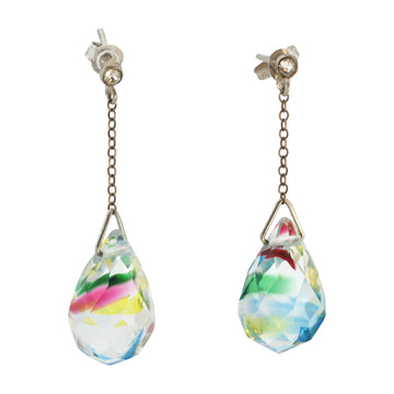 Hand blown Facet Cut Crystal Drop Earrings - Front