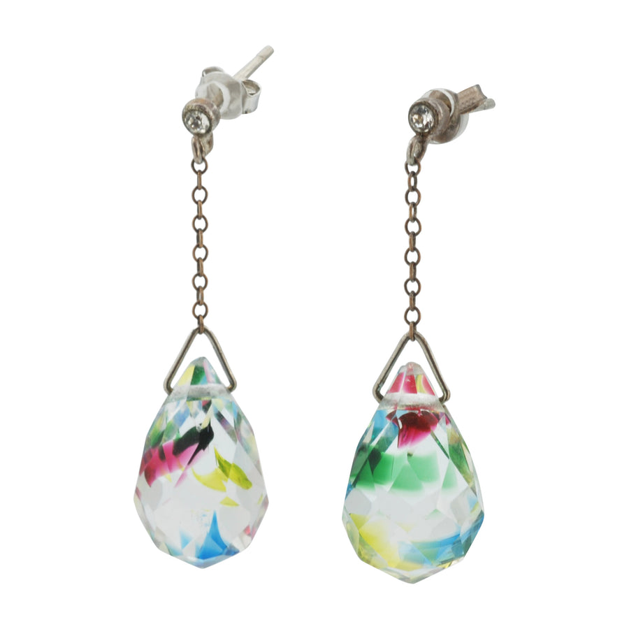 Hand blown Facet Cut Crystal Drop Earrings - Side