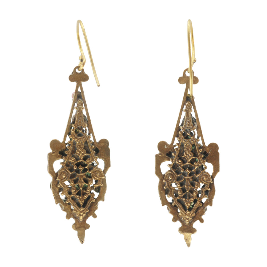 Czech Deco Art Glass And Gilt Metal Earrings - Back