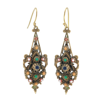 Czech Deco Art Glass And Gilt Metal Earrings - Front