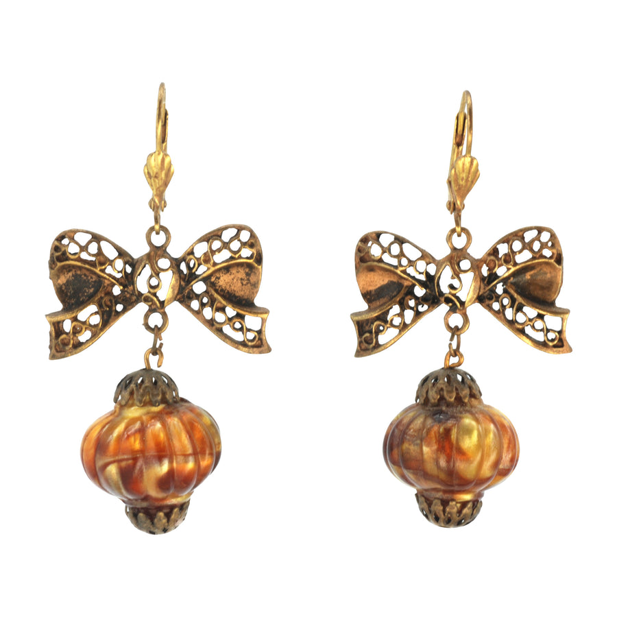Czech Deco Bow and Lantern drop earrings