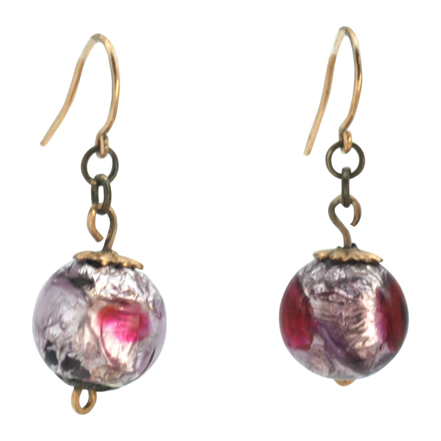 Deco Foiled Pink Glass Earrings