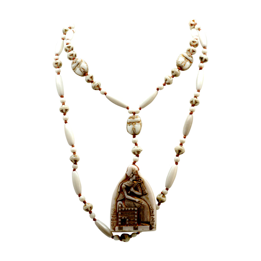 Deco Neiger Bros White Egyptian Revival Flapper Necklace - Front